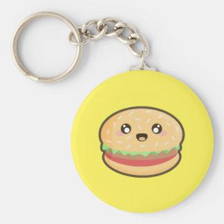 Kawaii hamburger basic round button key ring