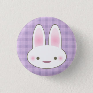 KAWAII HAPPY BUNNY GINGHAM CUTE FACE 3 CM ROUND BADGE