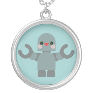 Kawaii Happy Robot Sterling Silver Necklace