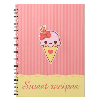 Kawaii Happy Strawberry Ice cream cone Notebook