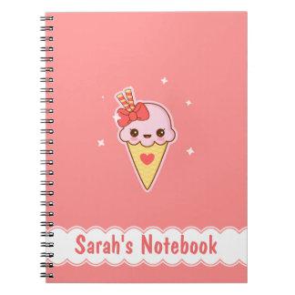 Kawaii Happy strawberry Ice cream cone personlized Spiral Notebook