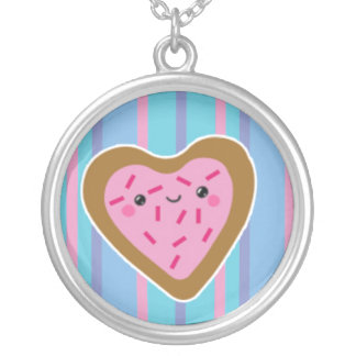 Kawaii Heart Cookie on Blue Stripes Personalized Necklace