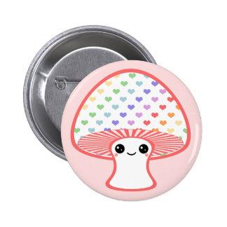Kawaii Heart Mushroom 6 Cm Round Badge