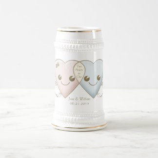 Kawaii Hearts Entwined Wedding Favor / Favour Beer Stein