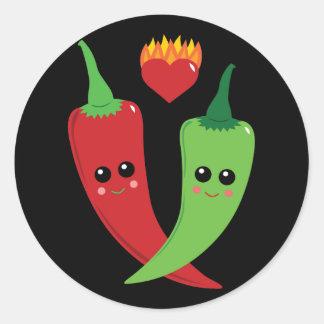Kawaii Hot Pepper Classic Round Sticker