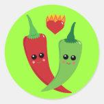Kawaii Hot Pepper Round Sticker