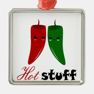 KAWAII HOT PEPPERS Silver-Colored SQUARE DECORATION