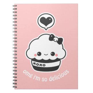 Kawaii Hugs and Kisses Cupcake Spiral Notebook