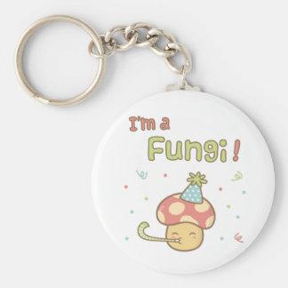Kawaii I am a Fungi Party Mushroom Pun Humor Basic Round Button Key Ring