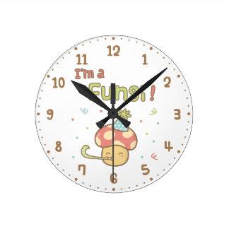 Kawaii I am a Fungi Party Mushroom Room Decor Round Clock