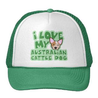 Kawaii I Love My Australian Cattle Dog (Red) Cap