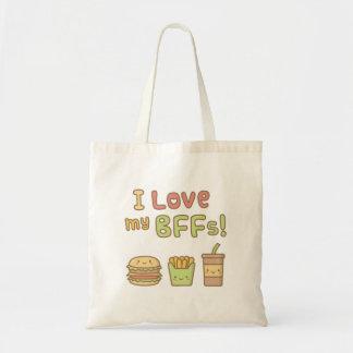 Kawaii I Love My BFFs Burger French Fries Soda Budget Tote Bag