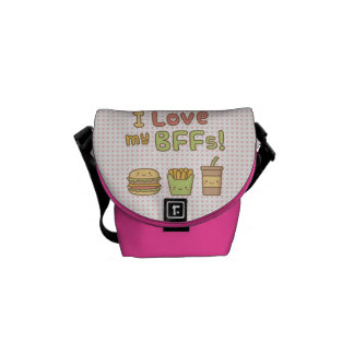 Kawaii I Love My BFFs Burger French Fries Soda Courier Bags