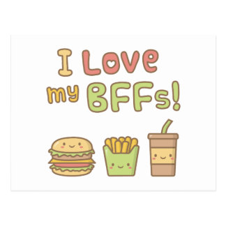 Kawaii I Love My BFFs Fast Food Doodle Postcard
