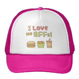 Kawaii I Love My BFFs Food Doodle Cap