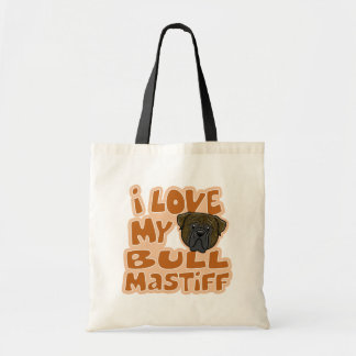 Kawaii I Love My Brindle Bullmastiff Tote Bag