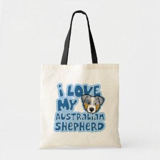 Kawaii I Love My Merle Australian Shepherd Tote Bag