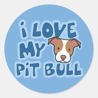 Kawaii I Love My Pit Bull Round Sticker