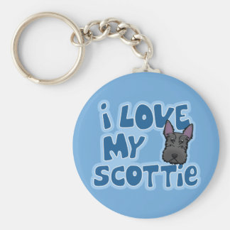 Kawaii I Love My Scottie Basic Round Button Key Ring