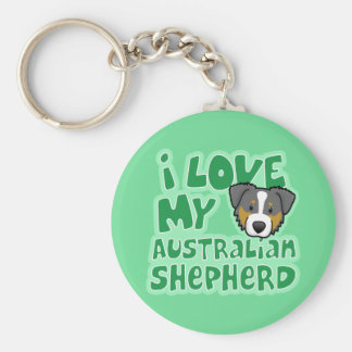Kawaii I Love My Tri Color Australian Shepherd Basic Round Button Key Ring
