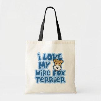 Kawaii I Love My Wire Fox Terrier Canvas Bags