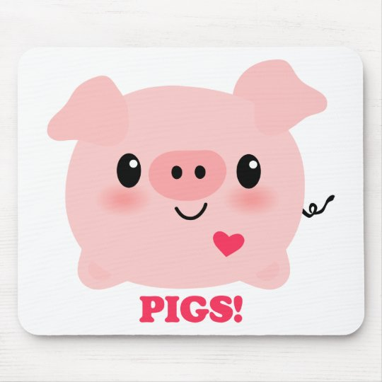 Kawaii I Love Pigs Mouse Mat