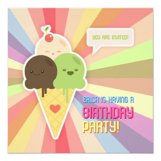 "Kawaii Ice Cream Birthday Party invitation 5.25"" Square Invitation Card"