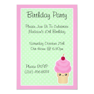 Kawaii Ice Cream Cone Birthday Party Invitations