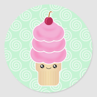 Kawaii Ice Cream Cone Classic Round Sticker