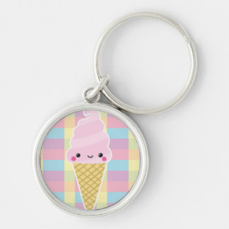 Kawaii Ice Cream Cone on Colorful Checks Silver-Colored Round Key Ring