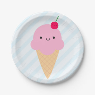 Kawaii Ice Cream Cone Paper Plate