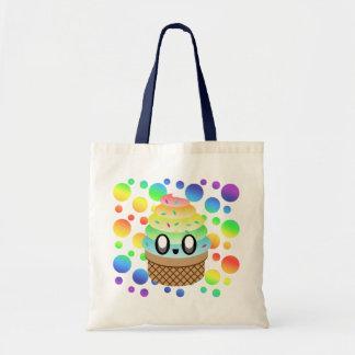 Kawaii Ice Cream Cone Rainbow Dots Tote Bag