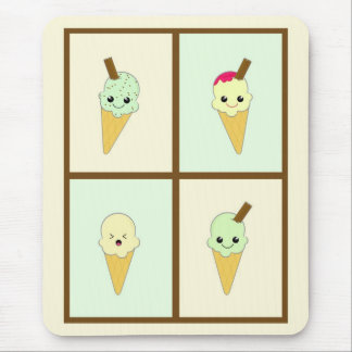 Kawaii Ice Cream Cones in Green and Cream Mouse Pads