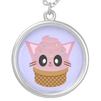 Kawaii ice Cream Kitty Cone Silver Necklace