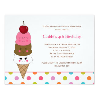 "Kawaii Ice Cream Party Invitations 4.25"" X 5.5"" Invitation Card"