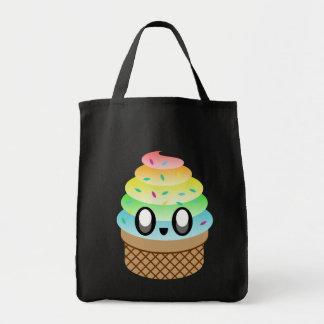kawaii ice cream rainbow sprinkles tote bag