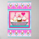 Kawaii Ice Cream Sundae Love Art Poster / Print