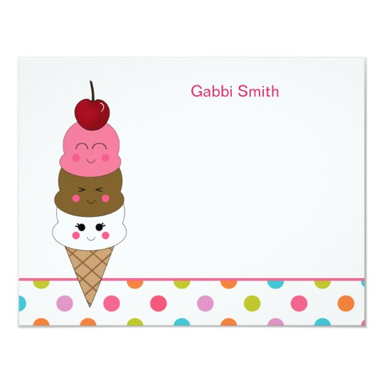 Kawaii Ice Cream Thank You Cards