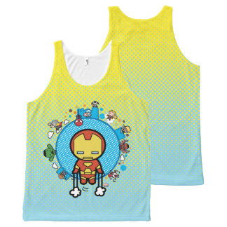 Kawaii Iron Man With Marvel Heroes on Globe All-Over Print Tank Top
