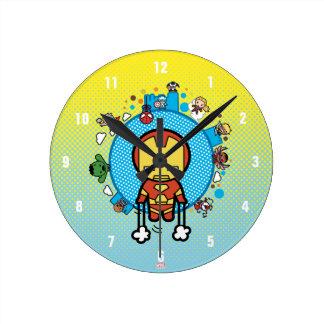 Kawaii Iron Man With Marvel Heroes on Globe Round Clock