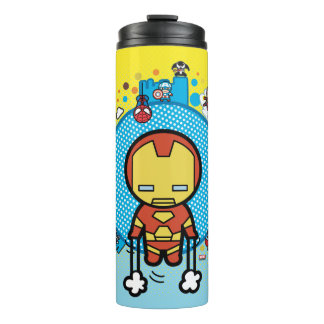 Kawaii Iron Man With Marvel Heroes on Globe Thermal Tumbler