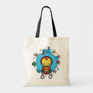 Kawaii Iron Man With Marvel Heroes on Globe Tote Bag