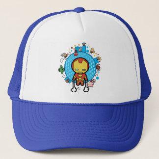 Kawaii Iron Man With Marvel Heroes on Globe Trucker Hat