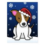 Kawaii Jack Russell Terrier Christmas Postcard