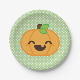 Kawaii Jackolantern Pumpkin Halloween Paper Plates