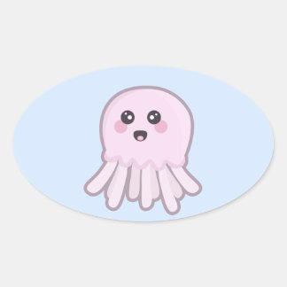 Kawaii Jellyfish Oval Sticker