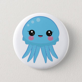 Kawaii Jellyfish Pin Badge Blue