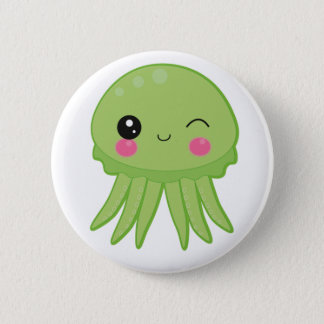 Kawaii Jellyfish Pin Badge Green