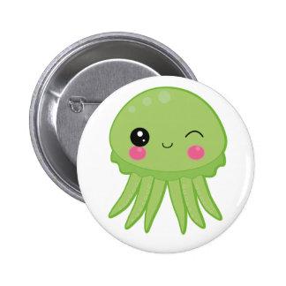 Kawaii Jellyfish Pin Badge Green