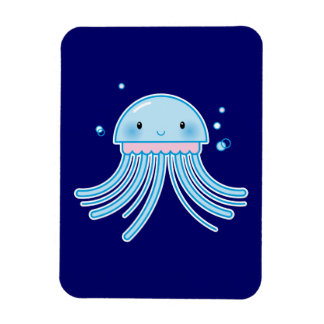 Kawaii jellyfish rectangle magnet